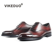 VIKEDUO Patina Oxford Dress Shoes For Men Genuine Cow Leather Shoe Male Handmade Wedding Office Mans Footwear Big Size Zapatos