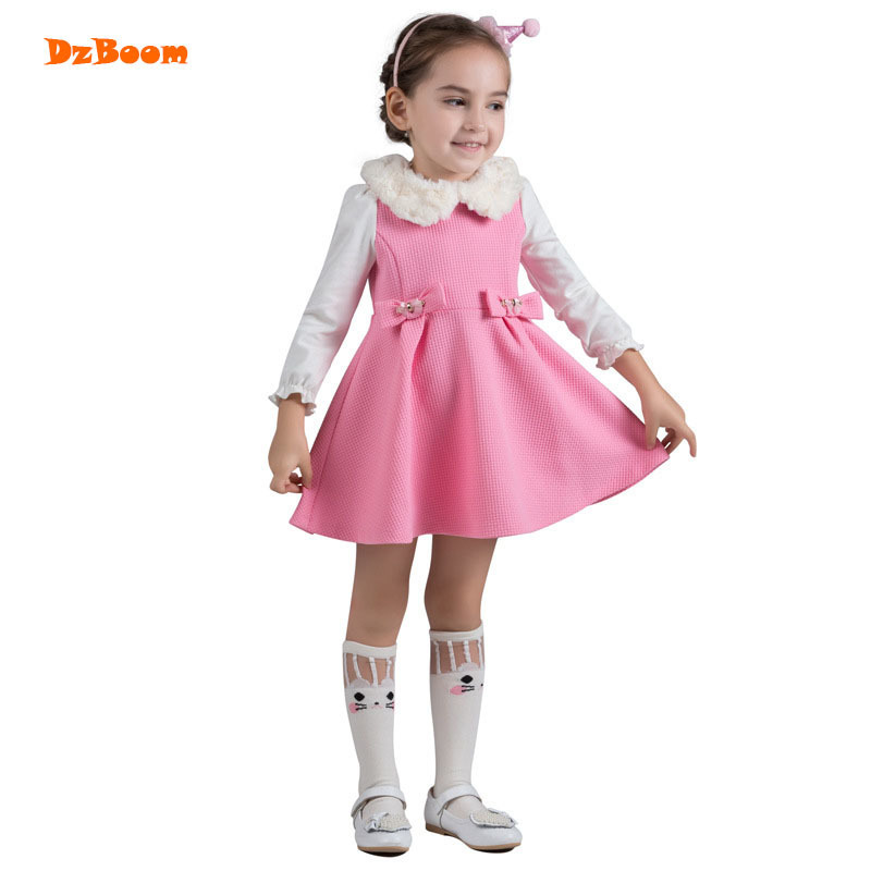 DzBoom 2017 Christmas Infant Party Girls Dress Cotton Winter Children Princess Toddler Girl Long Sleeve Kids Cute Autumn Dresses new 2017 baby girls ruffle sweater dress kids long sleeve princess party christmas dresses autumn toddler girl children clothes