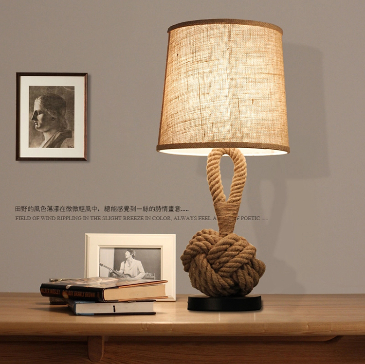 Retro hemp rope lamp American Cafe Restaurant simplicity study bedroom bedside lamp decorative cloth lampshade desk lamp north european style retro minimalist modern industrial wood desk lamp bedroom study desk lamp bedside lamp