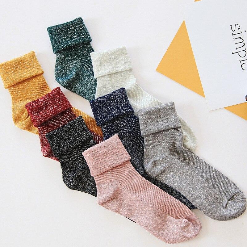SP&CITY Winter Cotton Solid Shiny Woman Simple Socks Fashion Art Fold Female Student Thick Warm Socks Shiny Metallic Line Sock