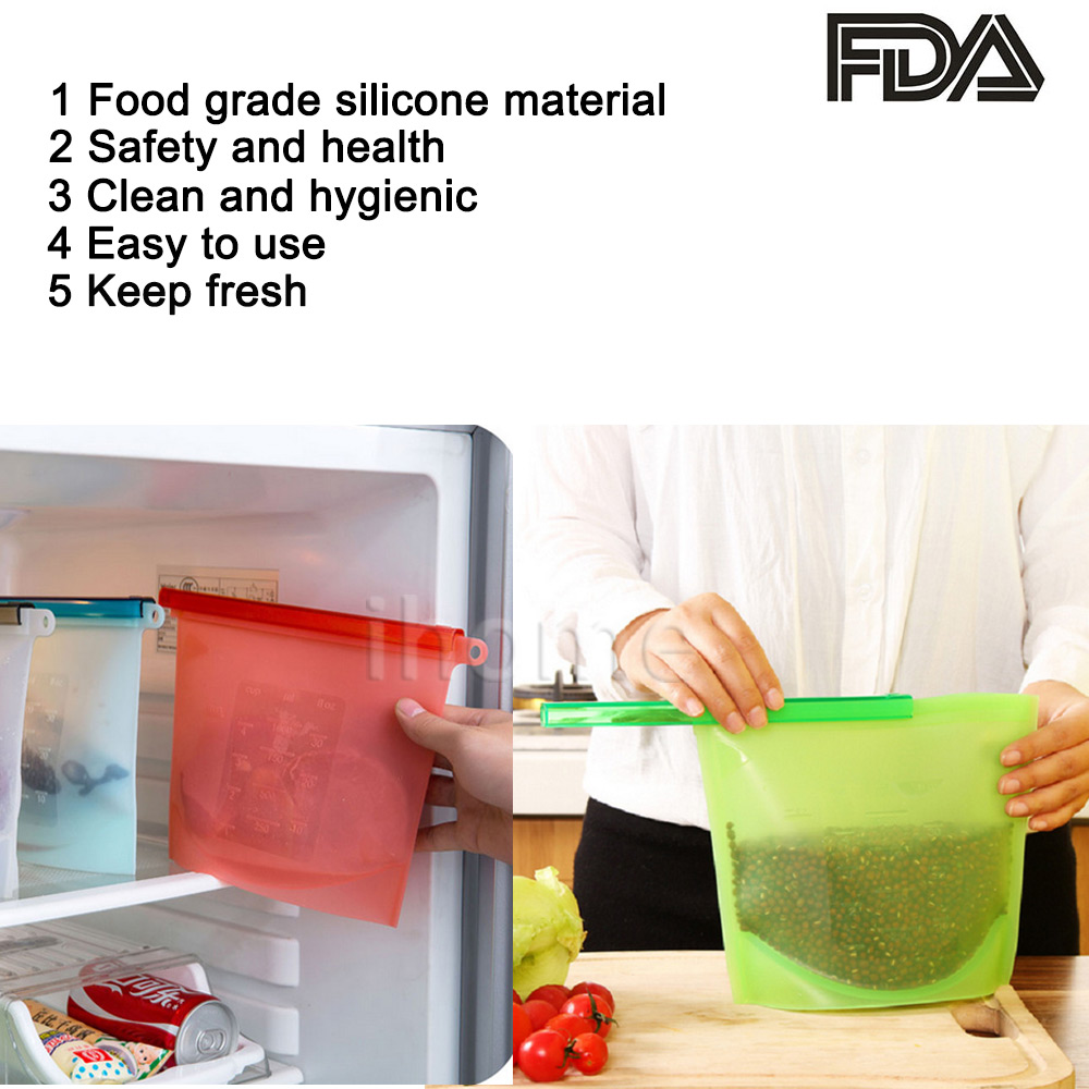 2pcs Silicone Food Preservation Bags Cling film Home Food Drink ...