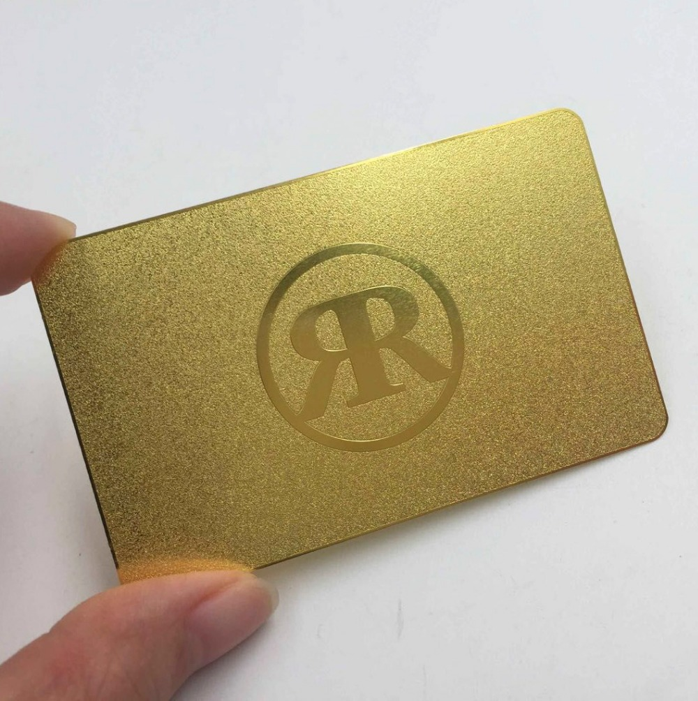 Plating Gold Metal Business Card Matte Faces Polished Sides Stainless Steel Gold Metal Card