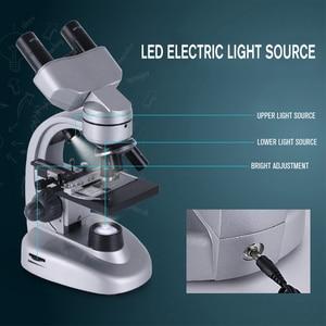 Image 5 - Binocular LED microscopio biológico + 11 Uds accesorios + mochila portátil alta calidad HD escuela estudiante Laboratorio Educativo