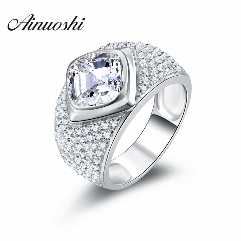 AINOUSHI 5 ct Gorgeous Brilliant Cushion Cut Sona Wedding Band Genuine 925 Solid Sterling Silver Classic Mens Rings