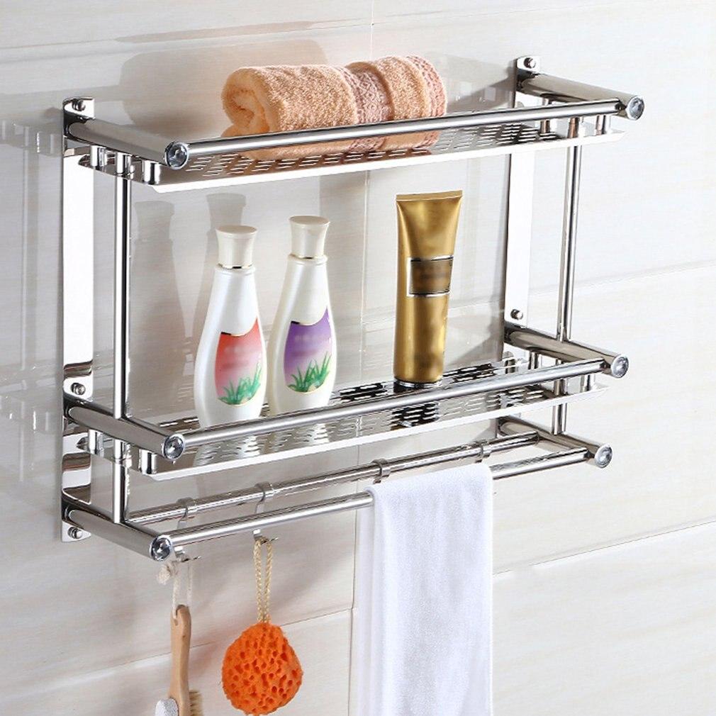 Bad Handtuch Regal Rack Bad Halter Doppel Mit Haken Anti-rost Wand Montiert Hängenden Waschbecken Waschraum Lagerung Sortierung