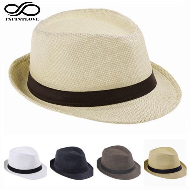 dc71d1be11353 LUCKYLIANJI Child Kid Jazz Beach Fedora Trilby Gangster Cap Summer Sunhat  Straw Panama Hat For Boys Girls (One Size 54cm)