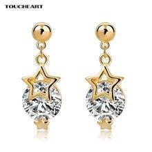 Женские серьги гвоздики со звездами toucheart свадебные золотого