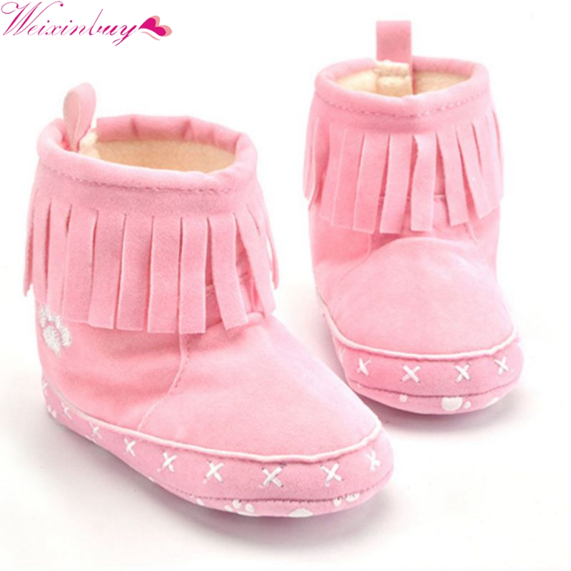 Factory Price! Khaki Black Pink Toddler Ankle Boots Baby Girls Tassel Booties SIZE 1-18M ...