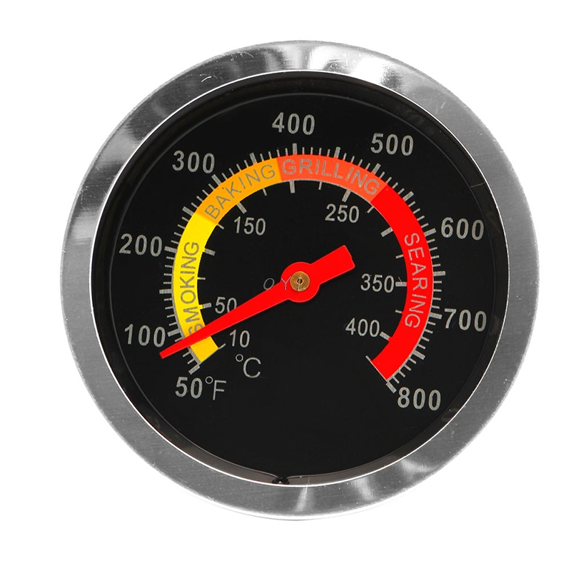 Stainless Steel Barbecue BBQ Smoker Grill Thermometer Temperature Gauge 10-400 Degrees