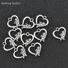 Moda lychee 10 Uds alas de Ángel Cupido amor colgantes en forma de corazón cuentas de plata tibetanas para DIY joyería hacer colgantes