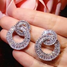 hot sale eight styles luxury Shinny Micro Paved Cubic Zircon Stud Earring for Women Wedding earings fashion Jewelry CE03711