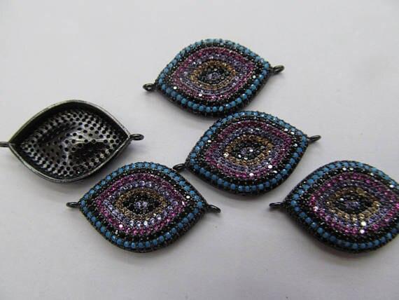 купить 6pcs 18-28mm Micro Pave CZ Evil Eye Connector Pendant,CZ Pave Evil Eye Connector,Handmade Jewelry Connectors,Turkish Evil Eye Ch по цене 5426.2 рублей