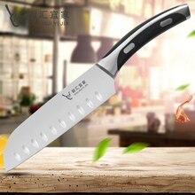 7 «дюймовый японский Santoku Ножи Нержавеющаясталь Кухня Ножи Уникальная изогнутая ручка ABS Рыбалка суши овощей и мясо шеф-повар Ножи