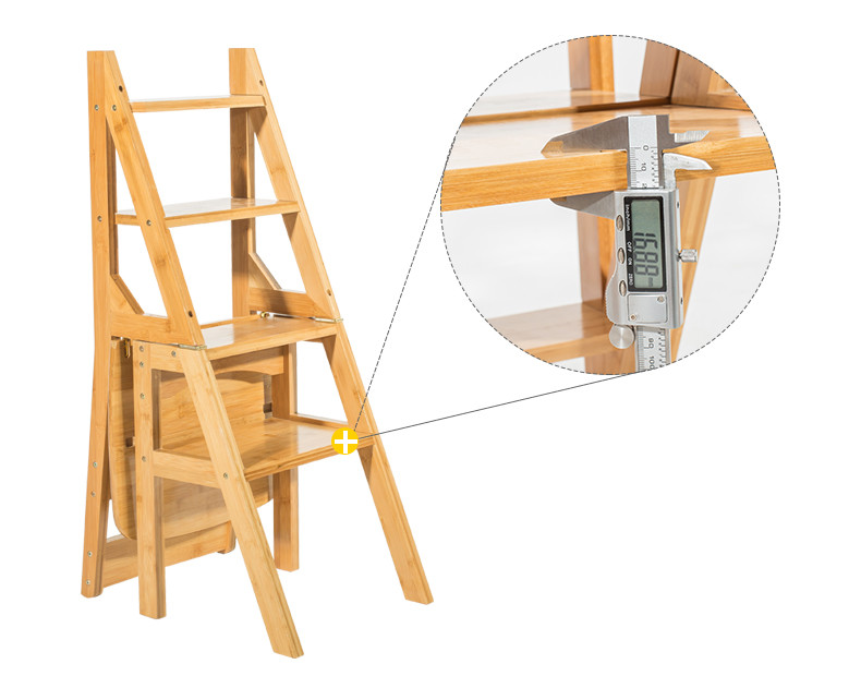 Natural Bamboo Multi-functional Four-Step Library Ladder Chair Bamboo Furniture Ladder Stool Cottage Chair Convertible Ladder