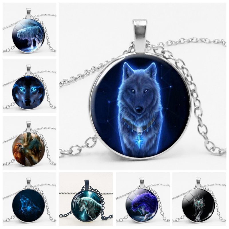Gothic Custom Necklace  Gothic Nymph Nordic Wiccan Murano Glass Wolf Cabochon Dark Necklace Glass Pendant Collares Kids Jewelry