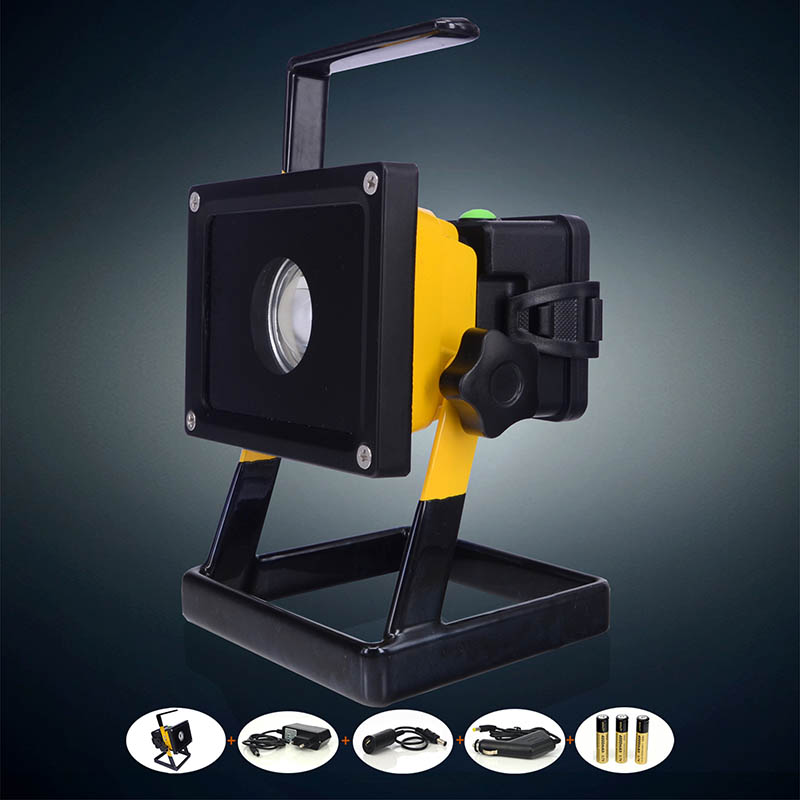 2015 New CREE XM-L L2 Rechargeable LED Flood light SpotLight 10W Aluminum Alloy Waterproof with AC /Car Charger+ 3*18650 Battery 2017 liitokala 2pcs new protected for panasonic 18650 3400mah battery ncr18650b with original new pcb 3 7v