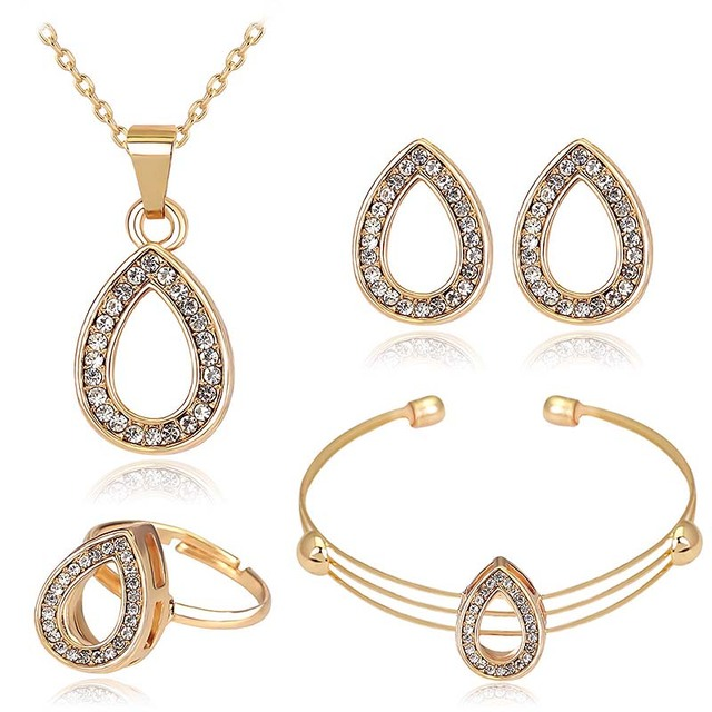 Hot Fashion Gold Color Jewelry Sets Waterdrop Pendant Necklace Earrings Rings Bangles Crystals Women Wedding