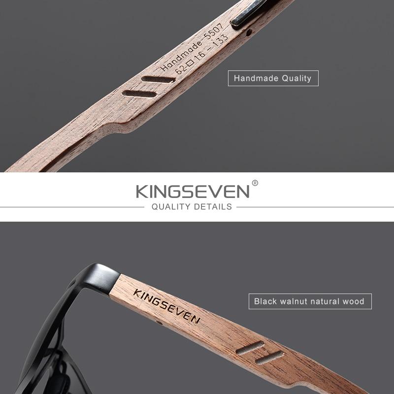 KINGSEVEN 2019 Wood Men Sunglasses Polarized Wooden Sun Glasses for Women Mirror Lens Handmade Fashion UV400 Eyewear Accessories 3
