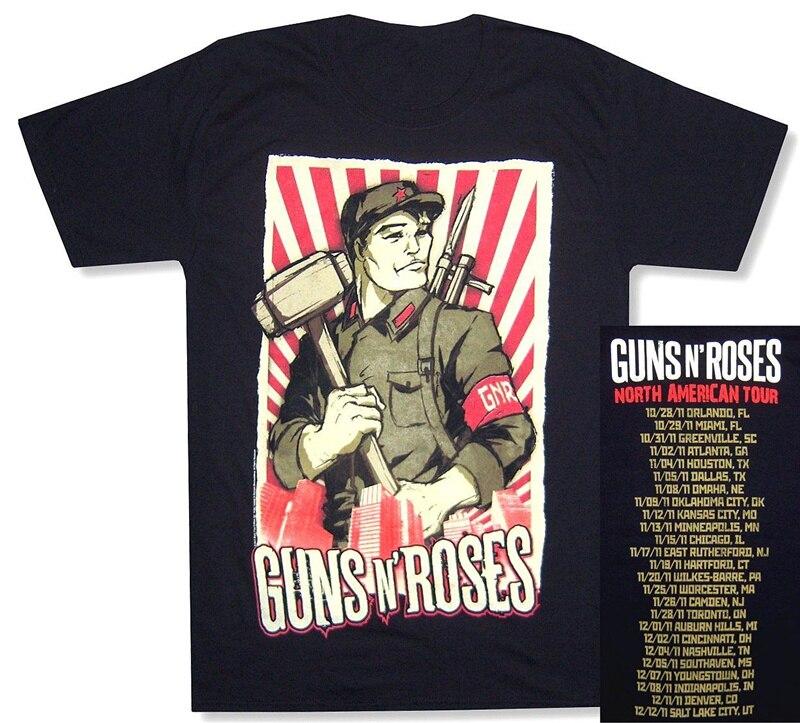 Funny T Shirts Short Guns N Roses Propaganda Img 2011 Tour Men Printed O-Neck Tee