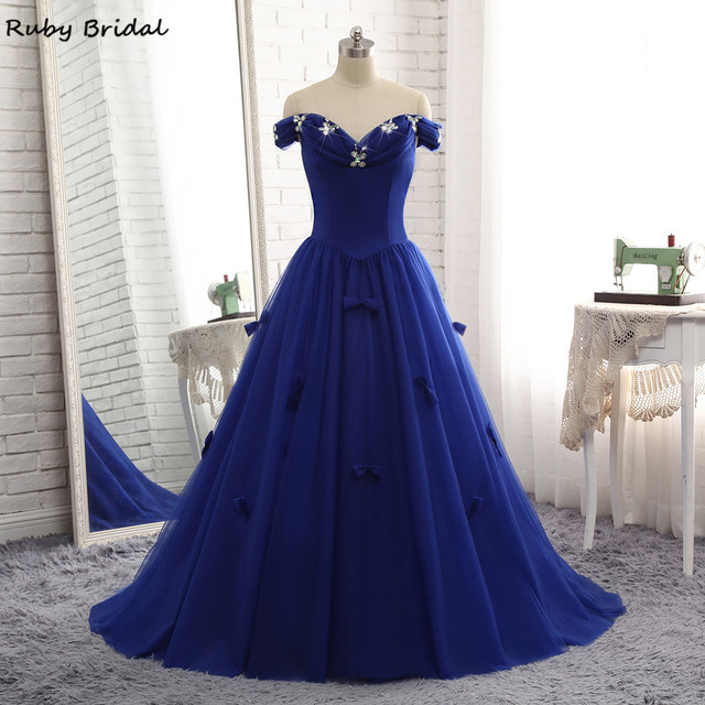 Ruby Bridal Vestidos De Fiesta Royal Blue Prom Dress Luxury Tulle Beaded  Bow Off ShoulderCheap Ball Gown Prom Party Gown R320 73c5a3cb614f