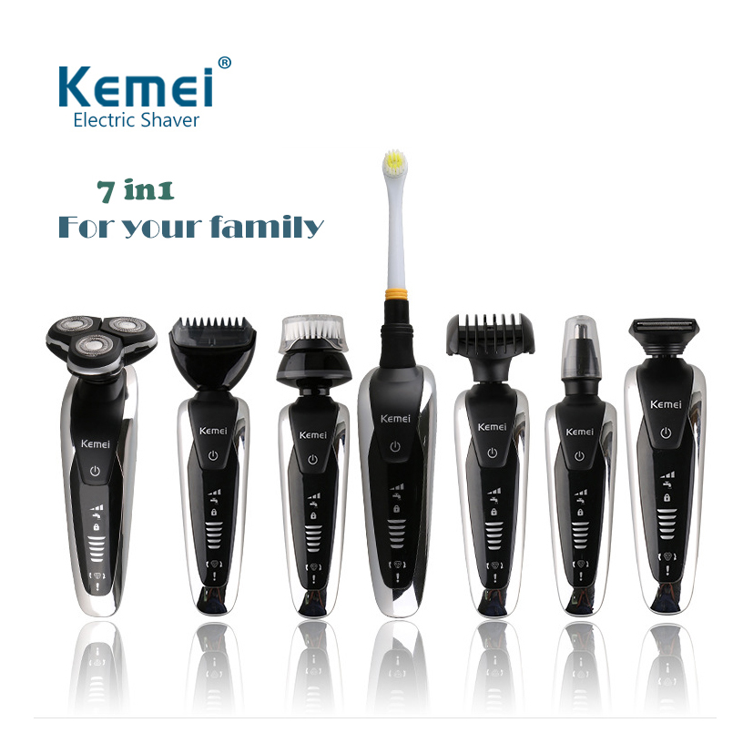 Rechargeable 7 in 1 electric shaver washable hair trimmer men shaving machine grooming kit face care beard kemei electric razor multifunction electric shaver razor washable shaving machine with hair clipper nose trimmer washing face toothbrush 3d rotary