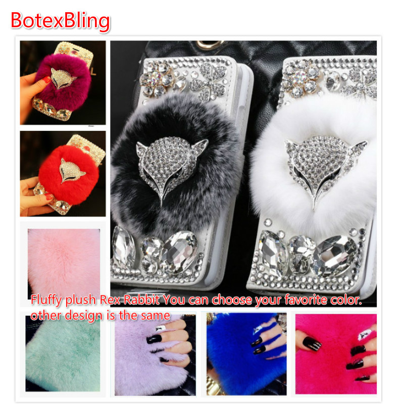 BotexBling Luxury diy Fox Diamond Real Rabbit Fur Cover For iPhone X 8 8p 7 7plus 6 6s plus 6plus 5 5s Flip Wallet Crystal Case