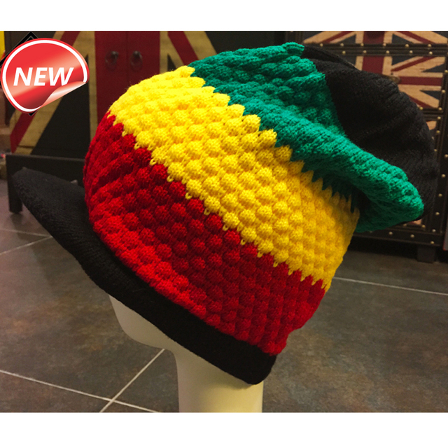 bbc5a653b12 1PCS New Rasta Reggae Knitted Visor Cap Jamaica Marley Slouch Tri-color  Hippie Hat Patchwork Style Black Yellow Green Red