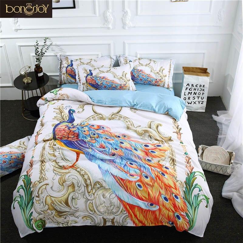 Bonenjoy 3D Animal Bedding Set Queen Size Peacock Printed Cotton Blend Bed Linen Sheet King Duvet