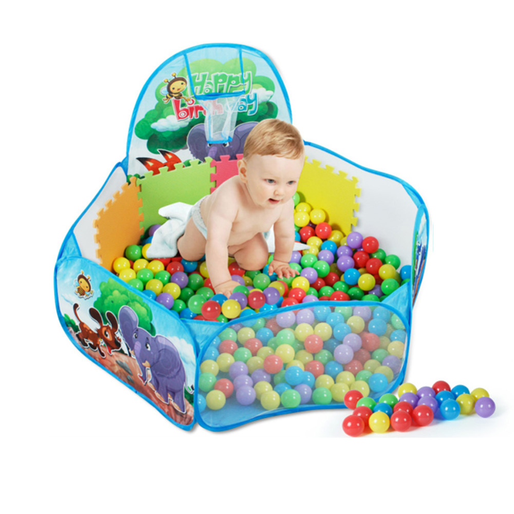 Children Foldable Outdoor Indoor Ocean Ball Pool with Tunnel Kids Safe Play Game House Balls Toys Tent Chilren Toys Hut Gift ruched polka dotted v neck jersey dress plum beige 8