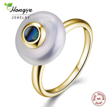 Hongye Hot 100% Natural Pearl Rings 925 Sterling-sølv-smykker, Oblate 1.3cm Ferskvann Pearl Ring, Party Gift, Gratis frakt