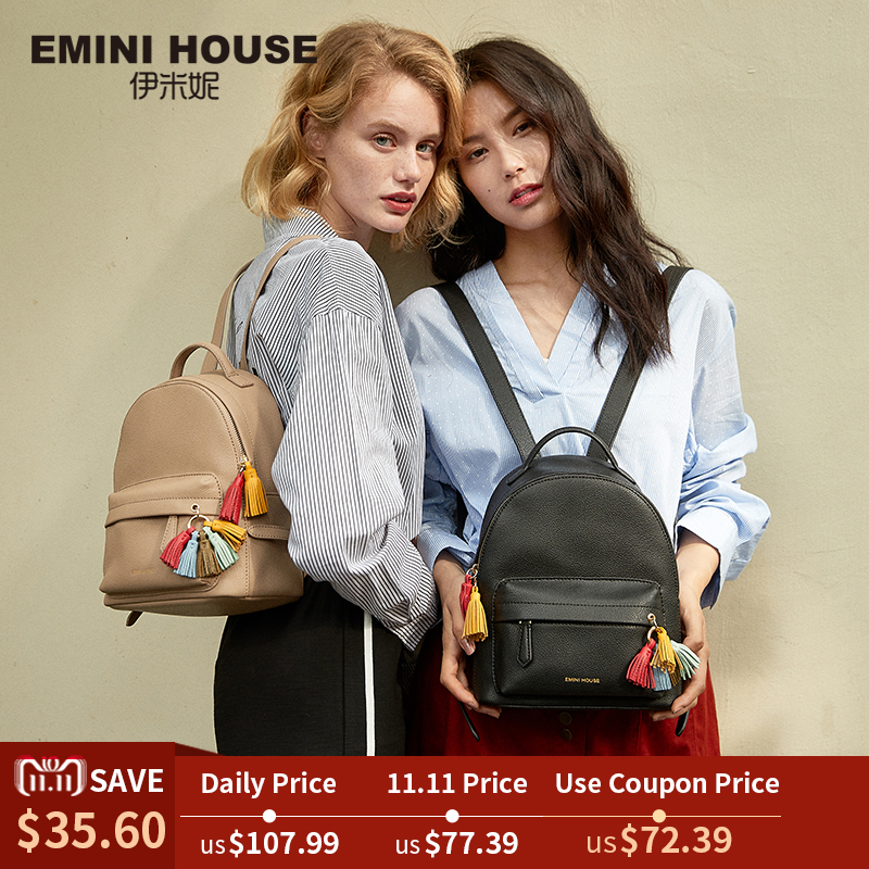 EMINI HOUSE Tassel Women Backpack School Bags For Teenage Girls Split Leather Backpack Small Rucksack Women Fashion Backpacks women s leather backpack mini tassel backpack women pu back pack backpacks for teenage girls rucksack small travel bag txy519