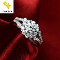 Luxury 3 CT Effect G H Color Lab Grown Moissanite Cluster Engagement Wedding Ring Pure