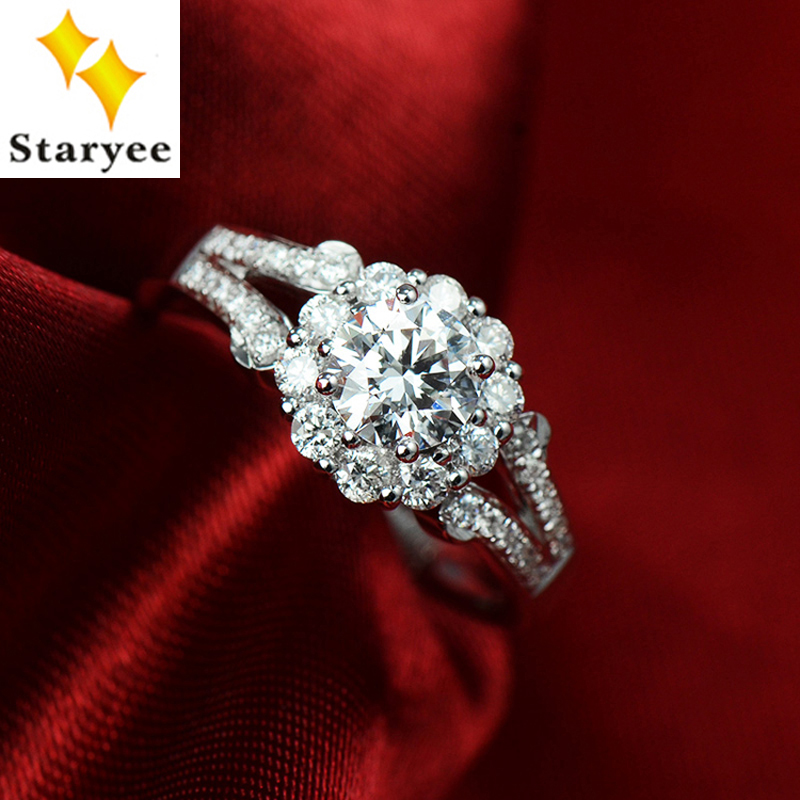 Luxury 3 CT effect Charles Colvard Moissanite Cluster Lady Engagement Wedding Ring Pure 18K 750 White Gold Real Diamond Accents цены