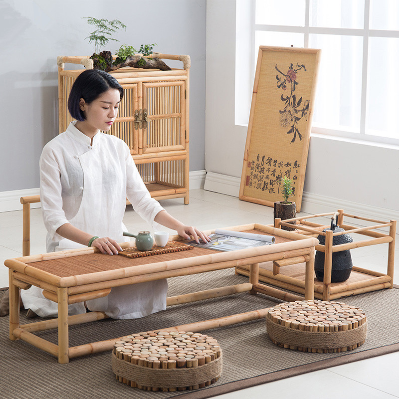 Vintage Rattan Indoor Bamboo Furniture Floor Table 100*40cm Asian Style Tatami Coffee/Tea Living Room Low Tea Table Bamboo Table 100% bamboo kung fu tea set bamboo tea tray bamboo tea saucer large sea water type tea table storage tray trumpet