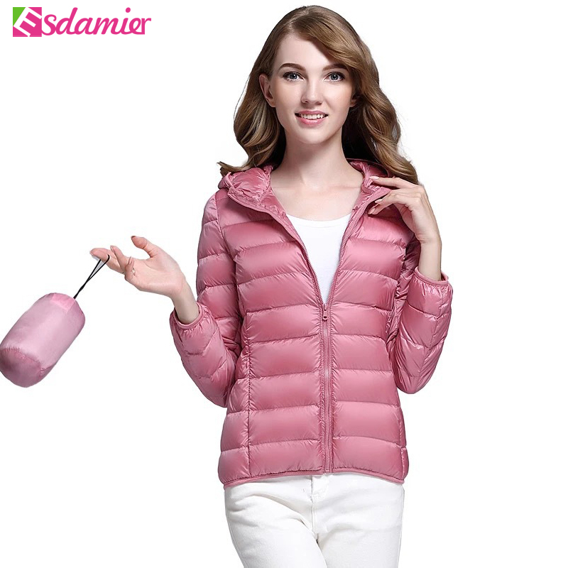 S-XXXL Plus Size Women's Ultra Thin   Down   Jacket Winter Warm 90% White Duck   Down     Coats   Women Parkas Solid Color Puffer Jacket