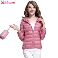 S-xxxlプラスサイズの女性の超薄いダウンジャケット冬暖かい90%白いアヒルダウンコート女性パーカー無地フグジャケット