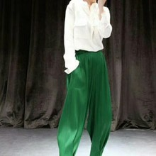 Miyake fashion Spring and summer mid waist solid harem ankle