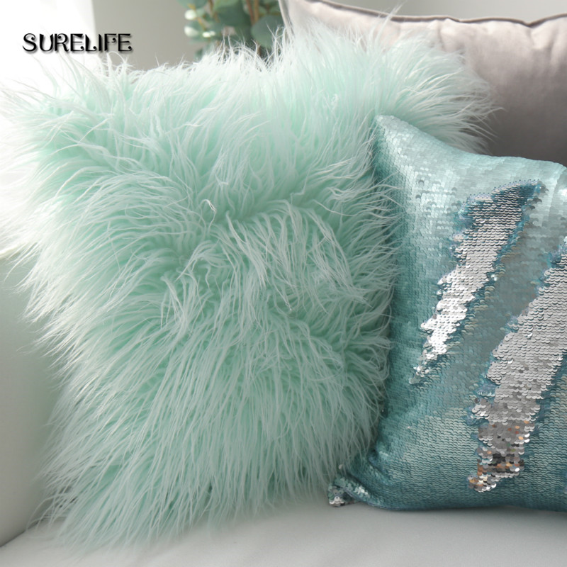 1pc Soft Faux Wool Washable Cushion Warm Hairy Seat Pillow Long Plush Cushion For Car Office Chairs Sofas