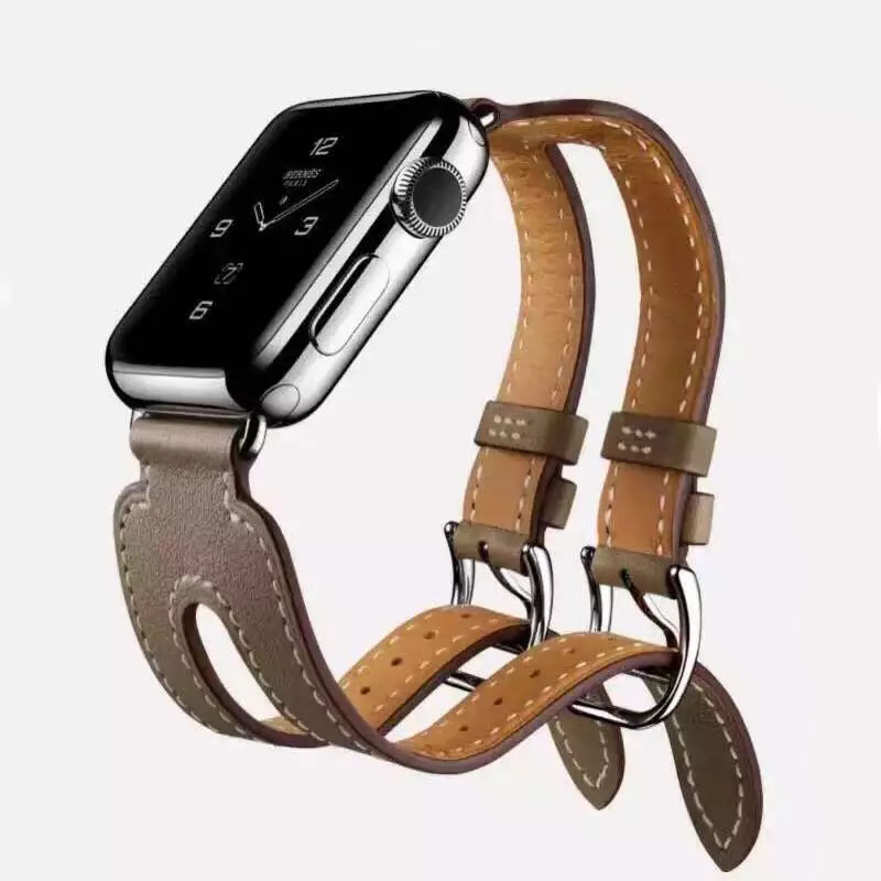 CRESTED Leather Double Buckle Cuff band For Apple Watch 42 mm/38 strap bracelet & Genuine Leather watchband strap for iwatch 1 2 йогурт нежный сливочный с соком персика 5%