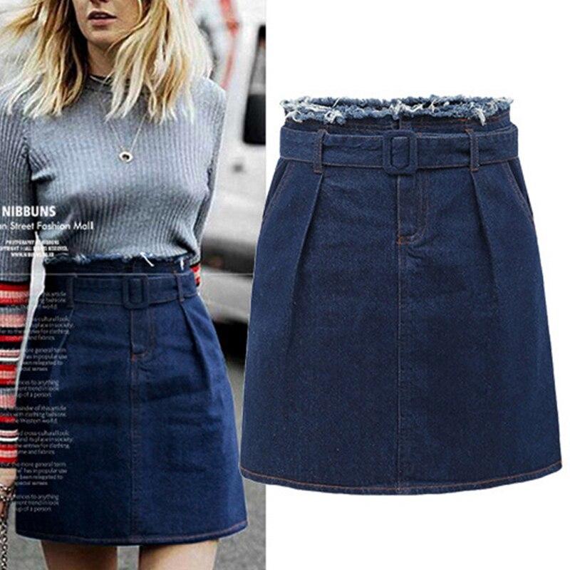 Jean Skirts Women Plus Size M 5XL High Waist A line Belt ...