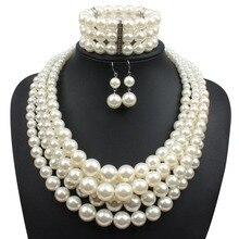 Simulado pearl jewelry set 3 unids nueva moda mujeres declaración party collar nupcial collar de perlas de perlas de plástico 2420