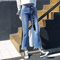 New 2017 Jeans Women Vintage Flare Pants Striped Torn Denim For Girls High Waist Ankle-length B7102