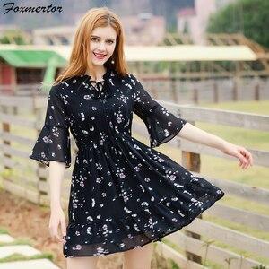 Image 4 - Kadın yaz elbisesi baskılı şifon kadın elbiseler 2020 Boho tatlı kadın Ruffles elbise kısa kollu çiçek elbise plaj Vestidos
