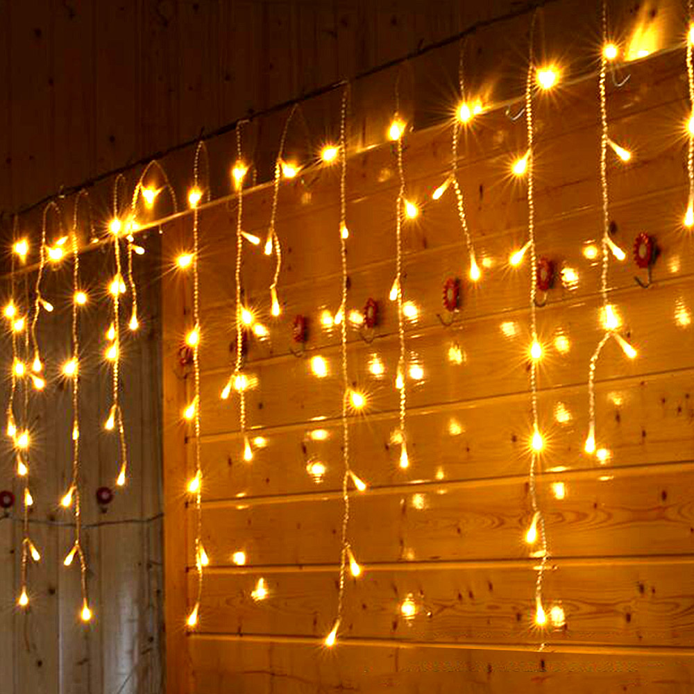 216LED 5M Garland LED Curtain Icicle String Lights Droop 0.4m-0.8m 220V Party Stage Outdoor Decoration Light Garden Fairy Lights