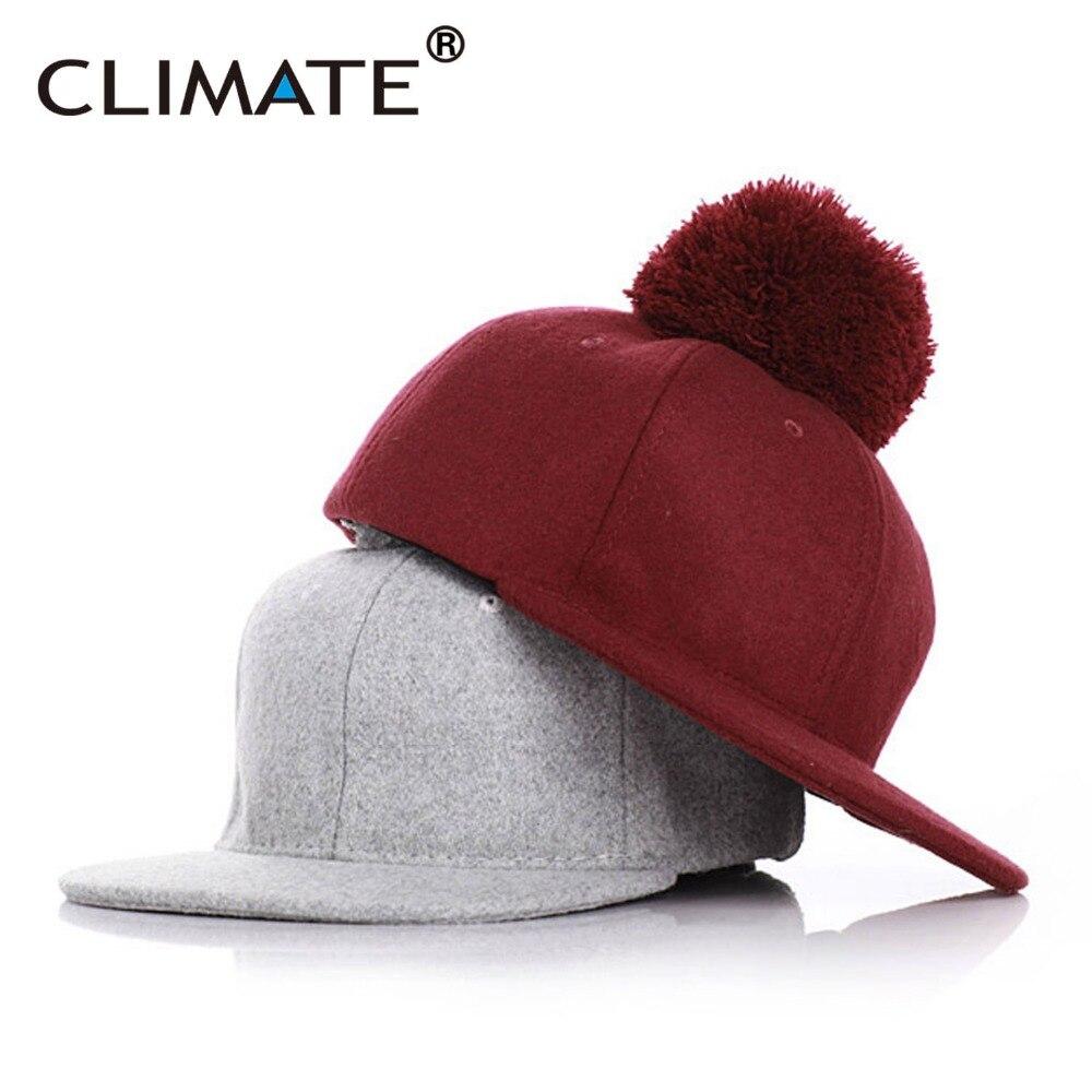 f2e672d1fc1 CLIMATE Mama Kids Children Woolen Winter Warm Pompon Snapback Caps Pompom  Heavy Thick Warm Girls Boy Parent-child Winter Hat