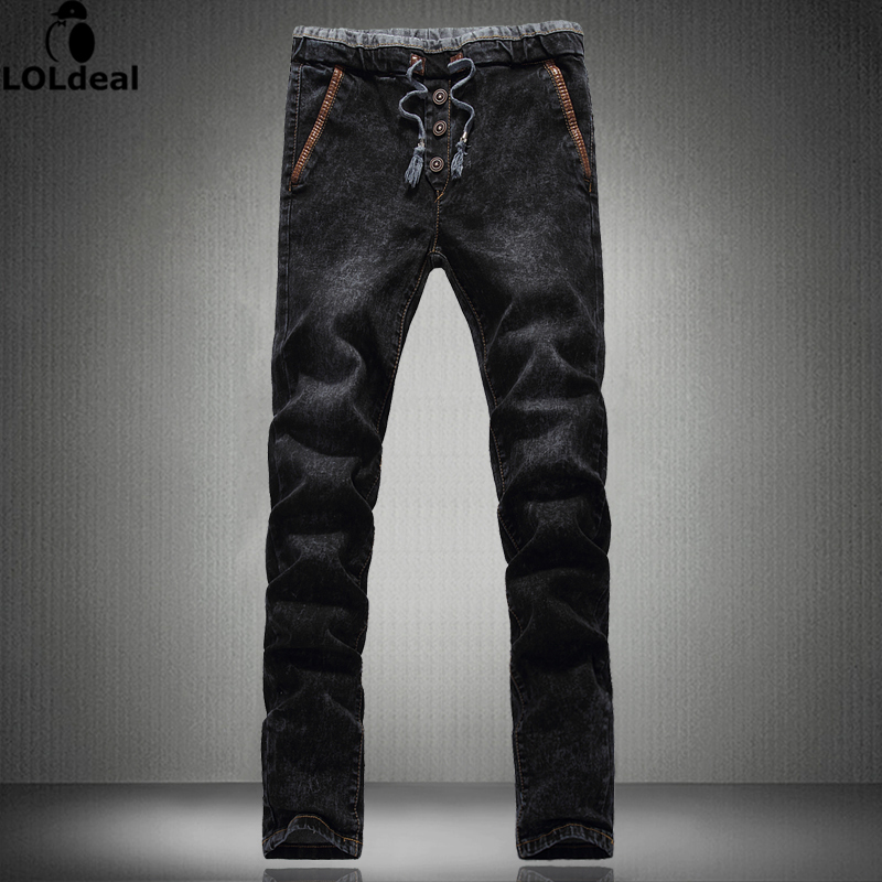 High Quality drawstring Jeans Homme Black Slim Denim Trousers Male Solid Straight Designer Classic Canusl skinny Jeans Men 27-42 17 shark summer new italy classic blue denim pants men slim fit brand trousers male high quality cotton fashion jeans homme 3366