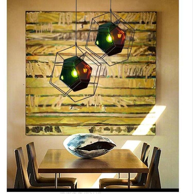 France Style Geometric Diamond Glass Dining Room Pendant Light Wrought Iron Cafe Bar Restaurant Aisle Decoration Lamp loft crystal clear dysmorphism glass iron light ceiling lamp cafe dining bar aisle dining room restaurant coffee shop