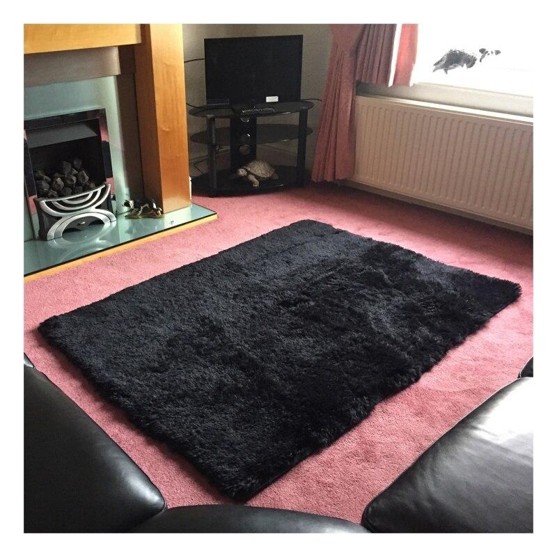 HOT-Home Rugs Living Bedroom Plush Rugs Black 40*40cm