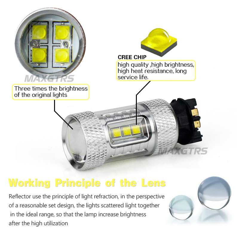 Image 3 - 2x 車クリアランスライト LED PW24W PWY24 CREE チップ Drl 昼間信号曇交換用バルブ実行アウディ a3 a4 a5 q3led projector audiaudi projectorled a4 -