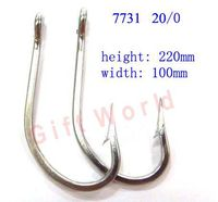 2pcs 7731 Size 20 0 Stainless Steel Ocean Shark Very Big Fishing Hooks Sharpened SS Large